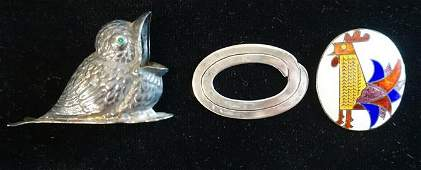 800 SILVER BIRD & STERLING SILVER PIN & PENDANT