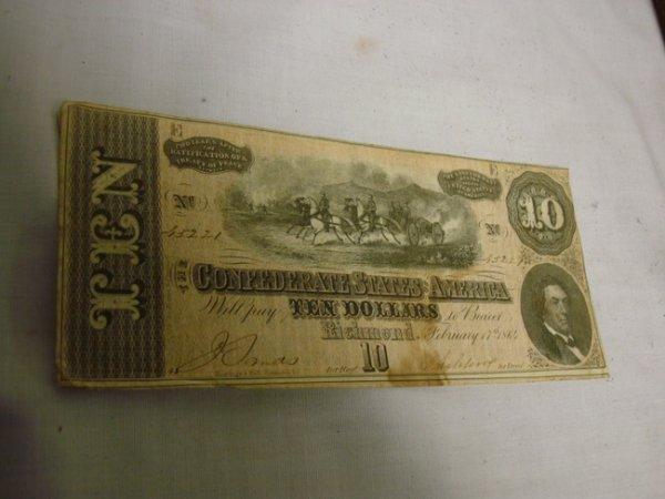 1350: CONFEDERATE STATES OF AMERICA 10 DOLLAR BILL; RIC