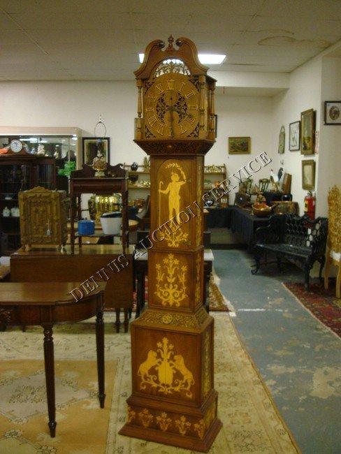 1424: SETH THOMAS INLAID & FRETWORK TALL CASE CLOCK; HA