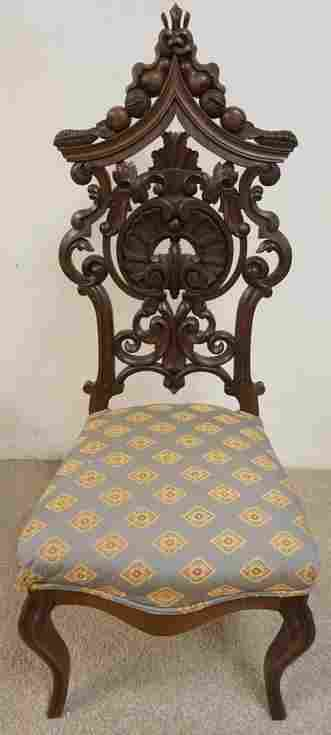 ANTIQUE VICTORIAN ORNATELY CARVED WALNUT CHAIR