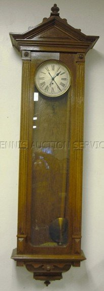 1220: LARGE REGULATOR WALL CLOCK; 72 IN H, 22 IN W, 9 I