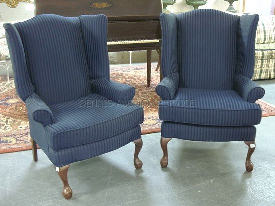 1323: MATCHED PAIR OF WING CHAIRS W/NAVY BLUE STRIPED U