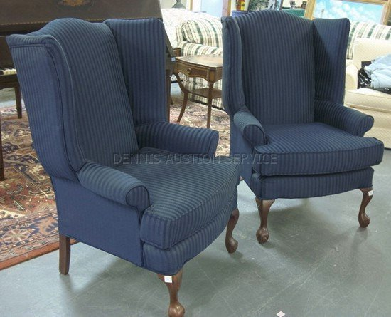 1323: MATCHED PAIR OF WING CHAIRS W/NAVY BLUE STRIPED U - 2
