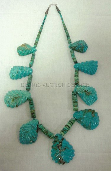 102: TURQUOISE NECKLACE W/TURQUOISE LEAF DECORATION
