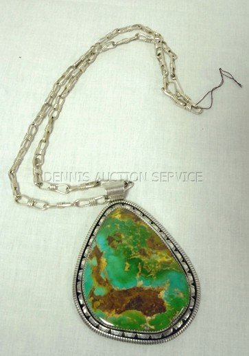 108: LG TURQUOISE PENDANT ON CHAIN; STERLING