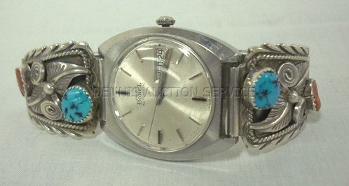 116: ERNEST BOREL WATCH W/TURQUOISE BAND DECORATION