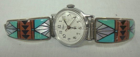 119: TIMEX WATCH W/TURQUOISE INLAY