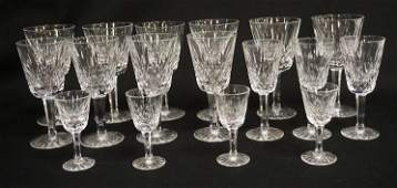 17 PIECES OF WATERFORD CUT CRYSTAL STEMWARE