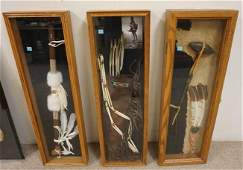 GROUP OF AMERICAN INDIAN ARTIFACTS MOUNTED IN  3 FRAMES