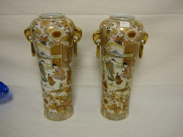 1006: PR OF TALL HAND PAINTED ORIENTAL VASES W/ELEPHANT