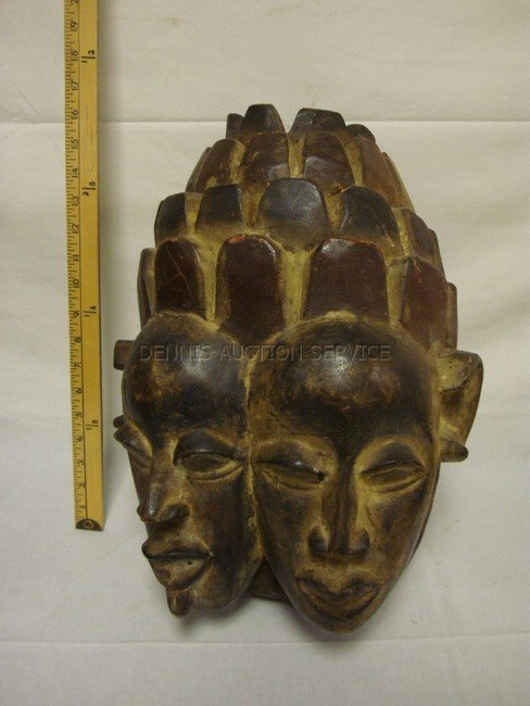 1011: LARGE CARVED WOODEN 2 FACE MASK; YORUBA TRIBE, NI