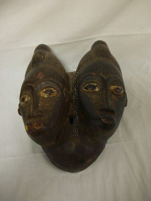 1012: CARVED AFRICAN 2 FACED MASK; 12 1/2 IN H