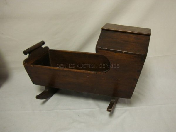1019: DOVETAILED WOODEN DOLL CRADLE; 18 IN L