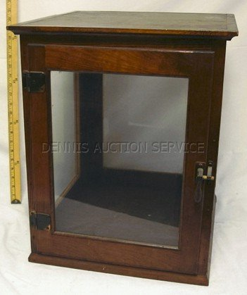 1023: WOOD & GLASS COUNTRY STORE CASE; 20 1/2 IN H, 17