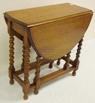 1037: OAK GATE LEG DROP LEAF TABLE W/ROPE TURNED LEGS;  - 2