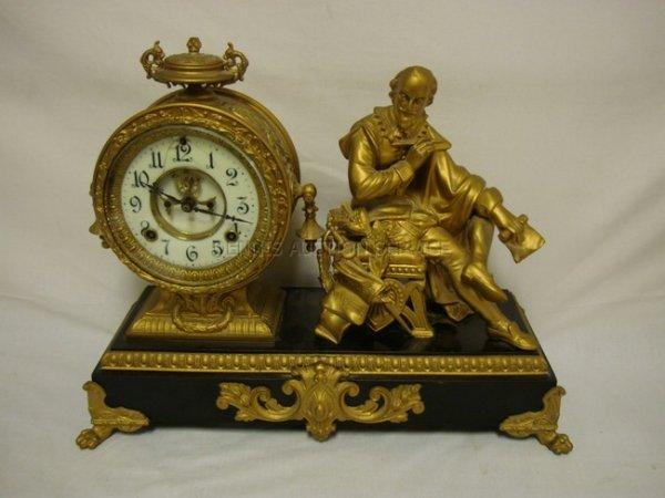 1056: SHAKESPEARE FIGURAL METAL MANTLE CLOCK, ANSONIA;