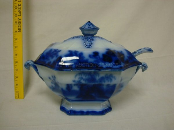 1175: SCINDE FLOW BLUE TUREEN W/ORIGINAL LADLE; IMPRESS