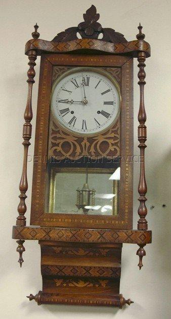 1190: WATERBURY WALL CLOCK IN BEAUTIFULLY INLAID CASE W