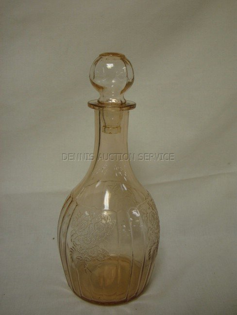 1294: PINK MAYFAIR DEPRESSION GLASS DECANTER W/ORIGINAL