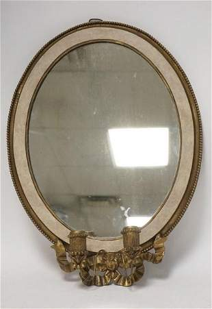 OVAL MIRROR W/ 2 BRASS CANDLE HOLDER