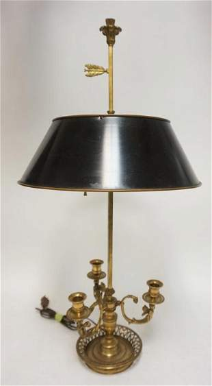 BRASS LAMP W/ TIN SHADE & 3 BRASS CANDLE HOLDERS