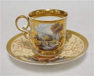 ANTIQUE SPODE HAND PAINTED SCENIC CUP & SAUCER