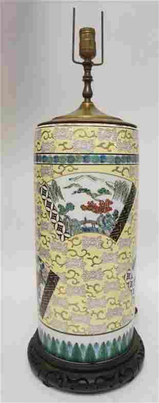 LARGE ASIAN PROCELAIN CYLINDRICAL LAMP