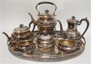 ENGLISH 7 PIECE SILVERPLATED TEA & COFFEE SET