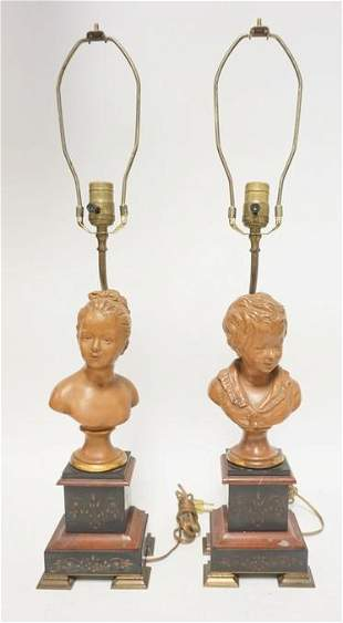 PAIR OF VICTORIAN LAAMPS W/ BUSTS OF A BOY & GIRL