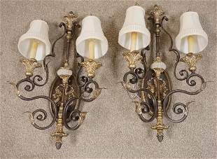 PAIR OF IRON TWO LIGHT SCONCES