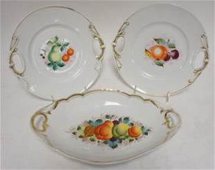 3 19TH CENTURY HAND PAINTED PLATES