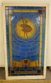 LARGE STAINED GLASS WINDOW DECORATED W/ AN ARTISTS