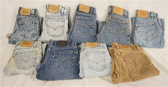 LOT OF 9 PAIRS OF VINTAGE USA MADE LEVI'S JEANS MOSTLY