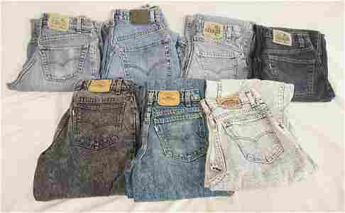 LOT OF 7 PAIRS OF VINTAGE LEVIS SILVER TAB JEANS