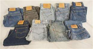 LOT OF 9 PAIRS OF VINATGE USA MADE LEVIS JEANS W/ RED