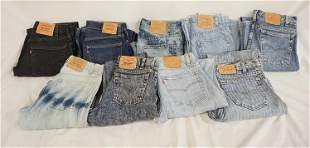 LOT OF 9 PAIRS OF VINTAGE USA MADE LEVI'S JEANS W/ RED