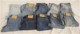 LOT OF 10 PAIRS OF VINTAGE LEVIS JEANS W/ RED TAB