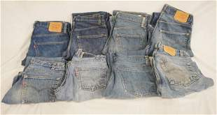 LOT OF 8 PAIRS OF VINTAGE LEVIS JEANS W/ RED TAB