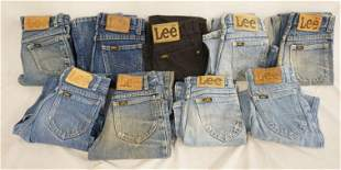 LOT OF 9 PAIRS OF VINTAGE USA MADE LEE JEANS