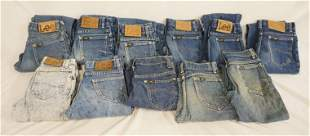 LOT OF 11 PAIRS OF VINTAGE USA MADE LEE JEANS