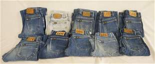LOT OF 10 PAIRS OF VINTAGE USA MADE LEE JEANS