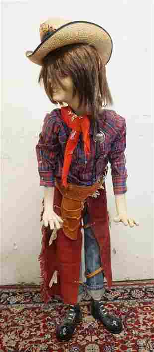 BOY MANNEQUIN CLOTHED IN LEVIS JEANS & WESTERN ATTIRE