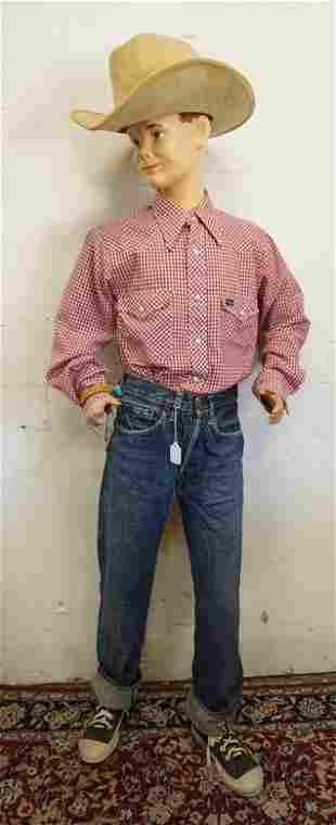 BOY MANNEQUIN CLOTHED IN VINTAGE LEVIS SELVEDGE BIG E