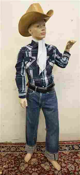 BOY MANNEQUIN CLOTHED IN VINTAGE SELVEDGE LEVIS JEANS