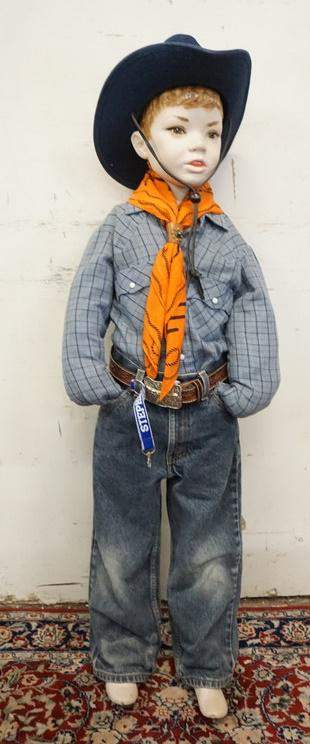 YOUNG BOY MANNEQUIN CLOTHED IN VINTAGE LEVIS JEANS &
