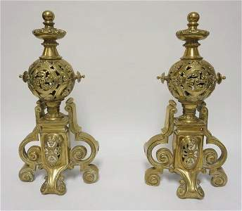 PAIR OF ORNATE BRASS CHENETS