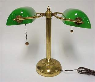 DOUBLE BANKERS/PARTNERS GREEN CASED GLASS LAMP