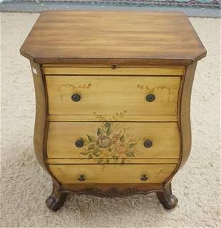 PAINT DECORATED 3 DRAWER BOMBE CHEST