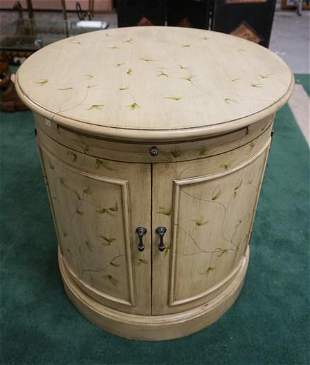 ROUND PAINT DECORATED 2 DOOR LAMP TABLE
