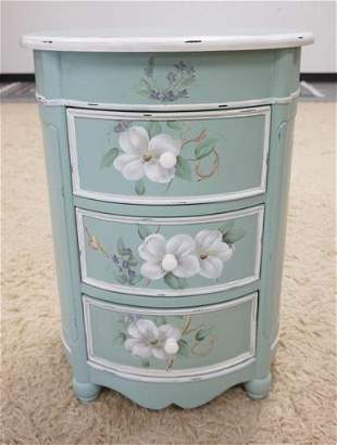 PAINT DECORATED OVAL 3 DRAWER STAND